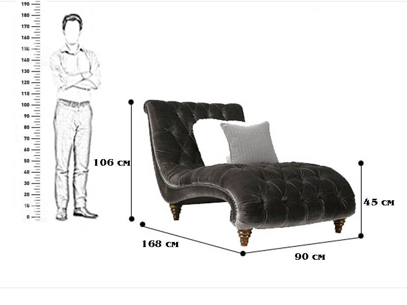 кресло лежак размер